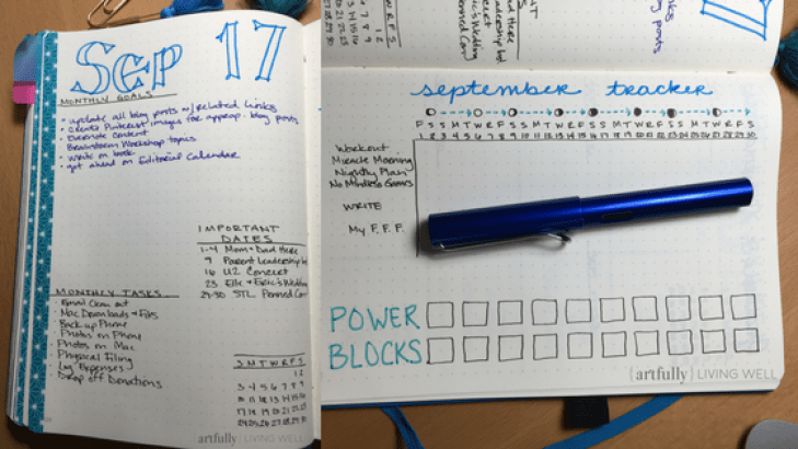 Sept monthly spread Artfully Living Well