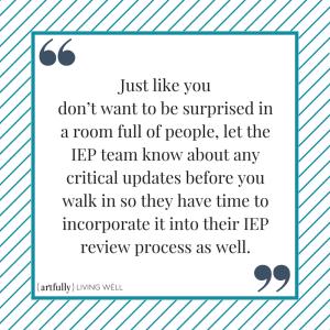 IEP review meeting - no surprises
