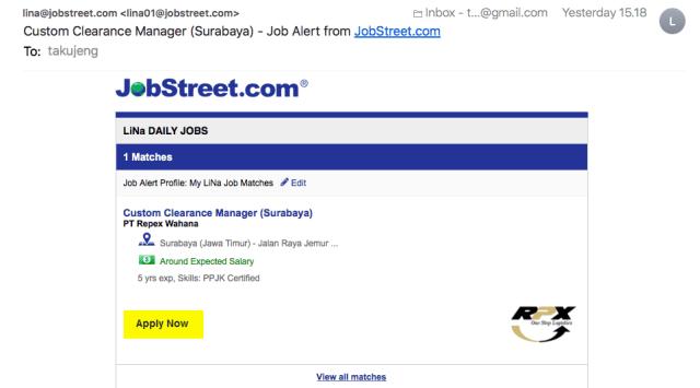 Notifikasi Email Dari Jobstreet
