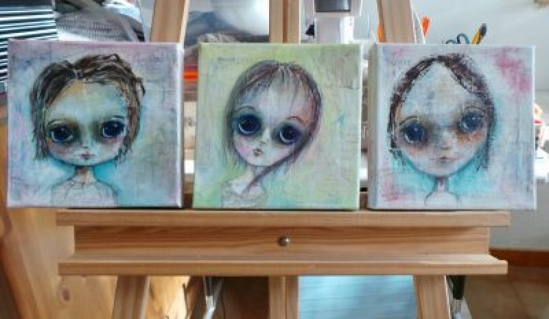 "Set of three big eyed girls painted on 8"" canvas with acrylics"