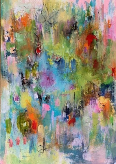 Acrylic abstract meadow painting