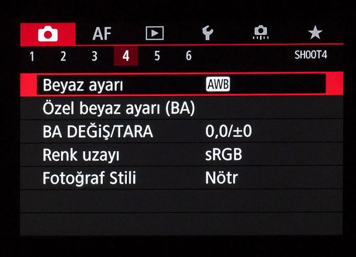 Canon EOS R Çekim Menüsü 4. sekme