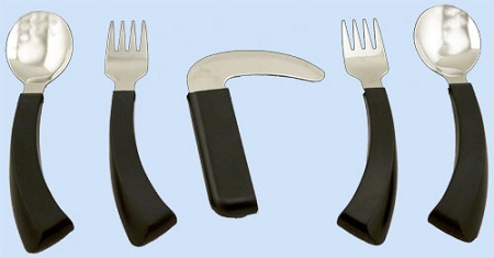 Amefa Curved Built Up Handle Utensils Curved Handle Angled Dining Aids