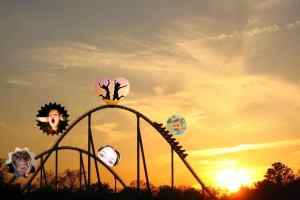 Image of roller coaster with faces showing different emotions
