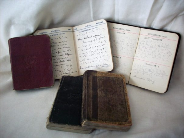 ALL's diaries: 1915 (closed), 1914 (open at 4 – 5 August: outbreak of War); 1918 (open at 8 – 11 November: Armistice); and (front) 1917 and 1916 (both closed.)