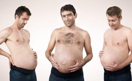 Photographie de portrait : Hommes enceints pour « La Ligue des familles »
