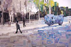"""""""Igor Mitoraj en Madrid"""". Jesús F. Navarro. Collage tipográfico sobre lienzo"""
