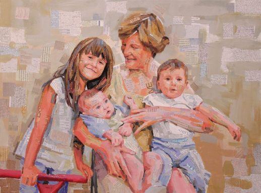 """""""Abuela con sus tres nietos"""". Jesús F. Navarro. Collage Tipográfico y acrílico sobre lienzo"""
