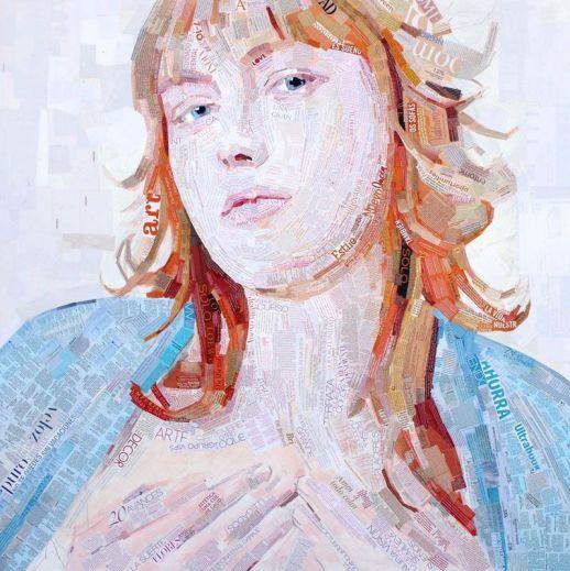 """Magdalena"". Jesús F. Navarro. 150 x 150 cm. Collage Tipográfico sobre papel. 2013"