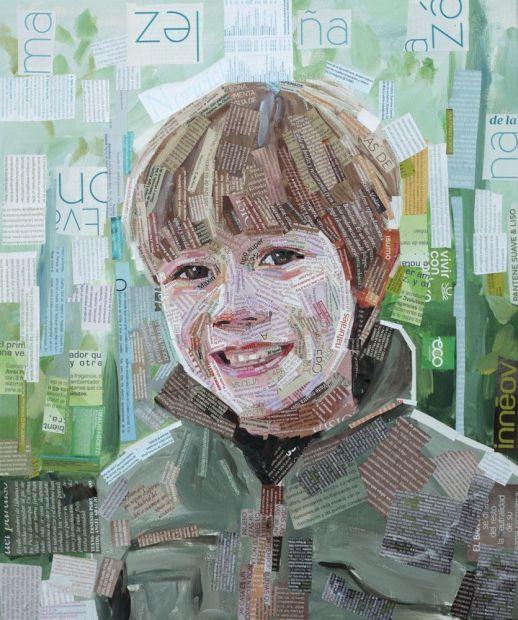"""""""Marco"""". Jesús F. Navarro. 46 x 55 cm. Collage Tipográfico y acrílico sobre lienzo. 2013"""