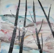"""""""Troncos"""". Hita Almagro. 39 x 39 cm. Acuarela y collage sobre papel"""