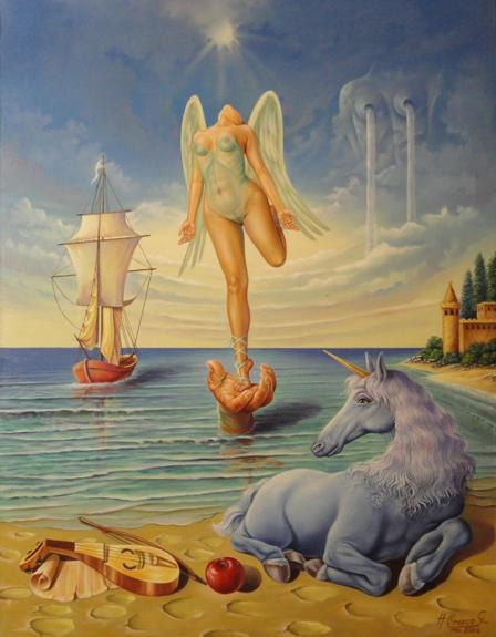 """Unicornio Azul"". Hernando Orozco Granados. Óleo sobre Lienzo 91 x 71 cm."