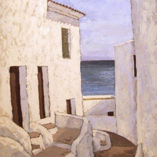 """""""Casas y mar al fondo"""". Carmen De La Cuesta. 54 x 65 cm."""