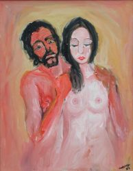 """Pareja"". Carlos Gorrindo. 50 x 70 cm. Óleo sobre lienzo"