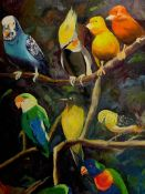 """""""Pájaros sobre oscuro"""". Fariza. 50 x 70 cm. Óleo sobre lienzo. €400"""