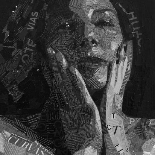 """Teresa"". Jesús F. Navarro. 80x107 cm. Collage tipográfico sobre lienzo. 2015"
