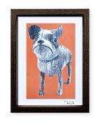 """""""Perro de juguete"""". Plastik. 15x20 cm. Técnica mixta sobre papel. Marco negro"""