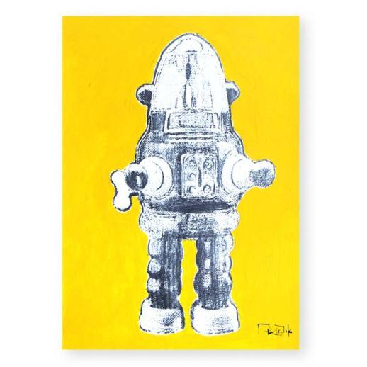 """""""Robot de juguete 8"""". Plastik. 15x20 cm. Técnica mixta sobre papel."""