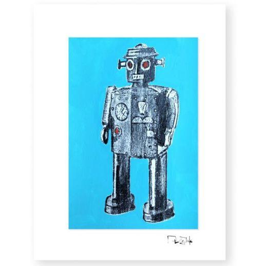 """""""Robot de juguete 3"""". Plastik. 15x20 cm. Técnica mixta sobre papel"""