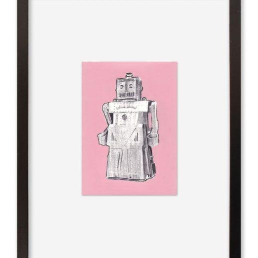 """""""Robot"""". Plastik. 30x40 cm. Técnica mixta sobre papel. Marco negro"""