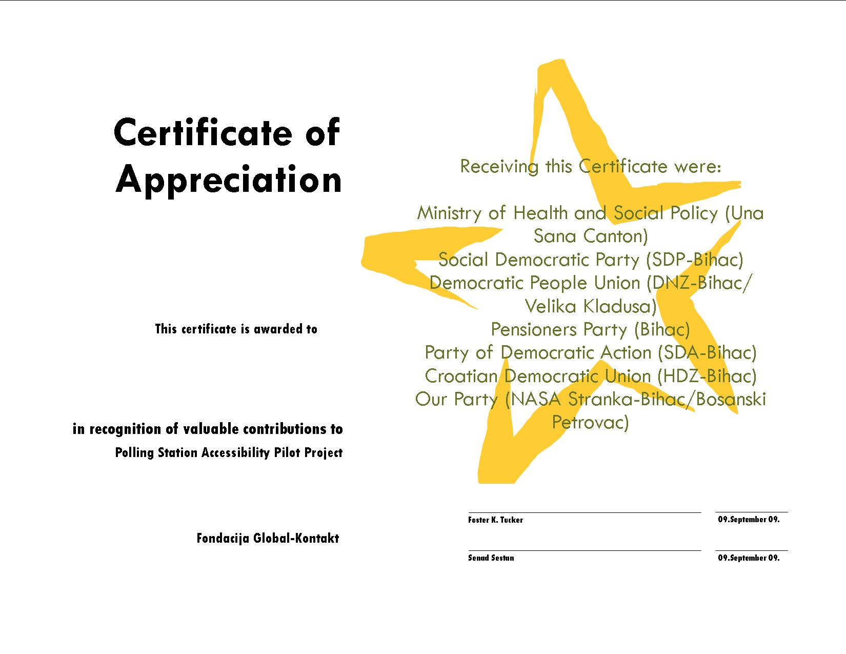 examples of certificates of appreciation wording – Certificate of Appreciation Examples