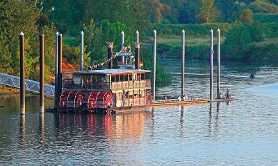 The Sternwheeler Willamette Queen moored at Riverfront Park in Salem, Oregon.