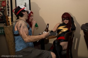 Cosplayers drinking.