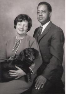 Barney and Betty Hill with their dog, Desley.