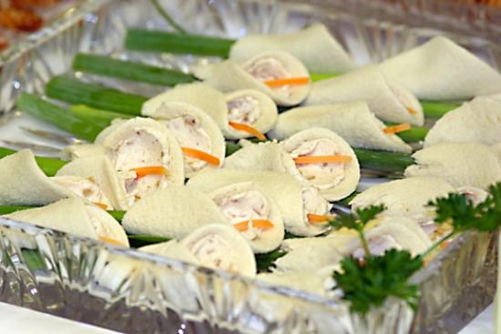 Calla lily tea sandwiches