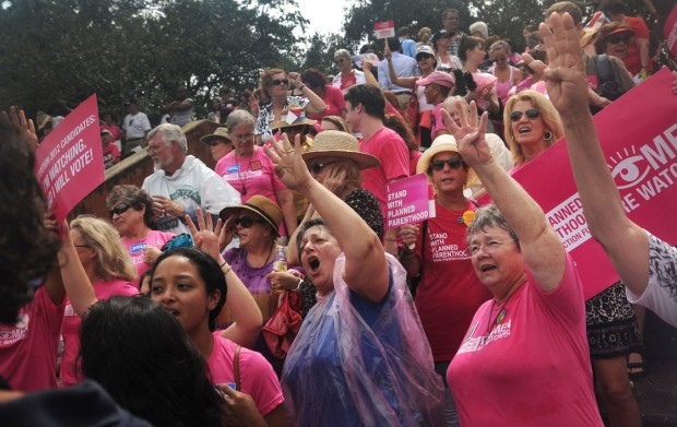 Planned Parenthood supporters at rally