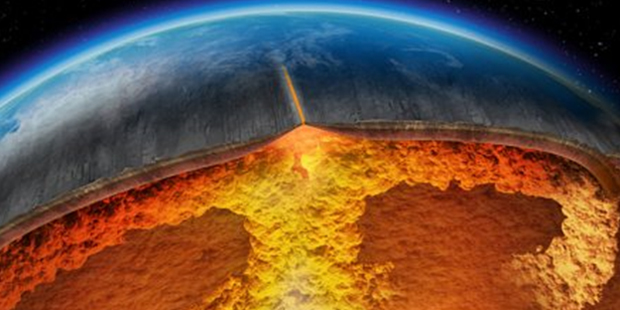 An artist's depiction of magma build-up under the surface of a supervolcano, (www.fourwinds10.net)