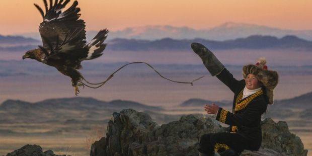 13-year old hunter and his golden eagle (www.bbc.com).