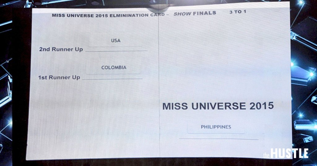 2015 Miss Universe winner announcement card, (The Hustle).