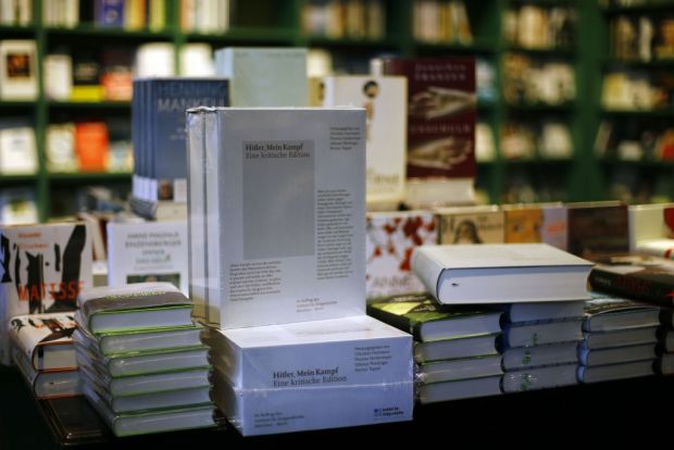 mein kampf on display at a book store