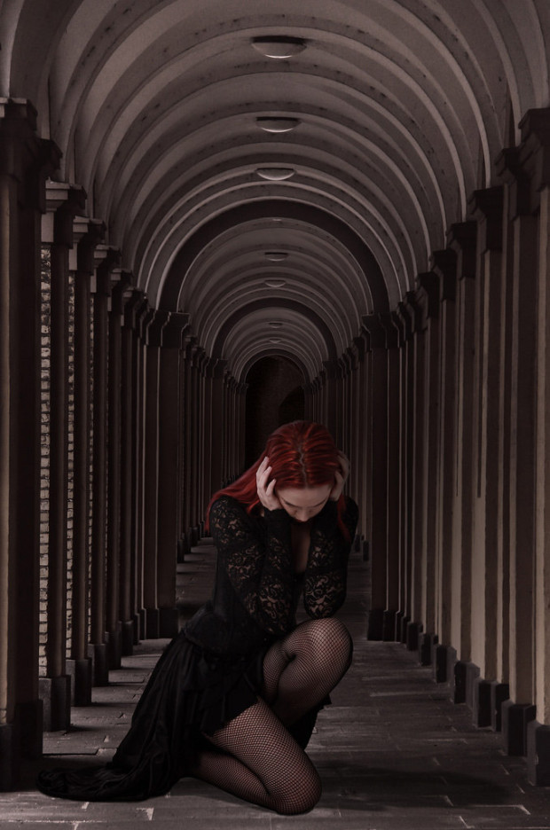 Sleep: Red haired goth person in hallway