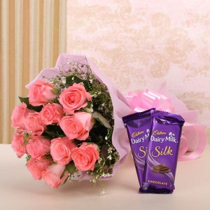 10 pink rose bouquet and chocolate