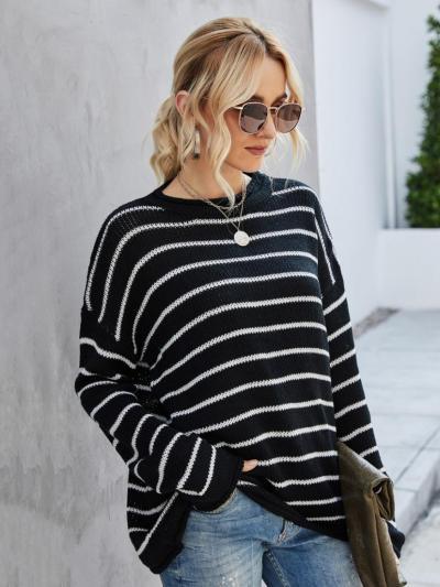 shestar wholesale funnel collar crochet stripe pullover