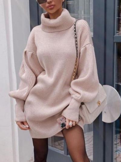 shestar wholesale high collar bishop sleeve knit sweater