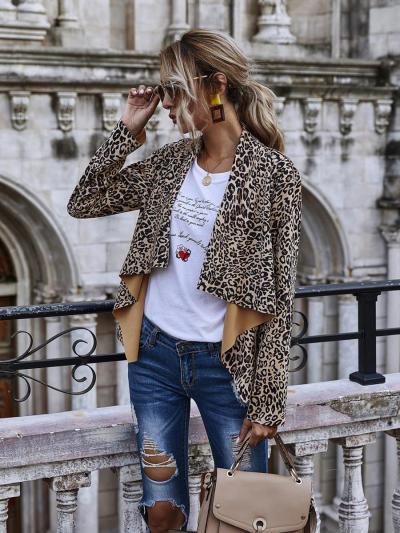 shestar wholesale lapel colloar leopard cardigan outerwear