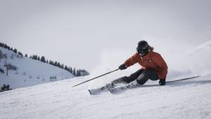 A person skiing on a mountain in Idaho.