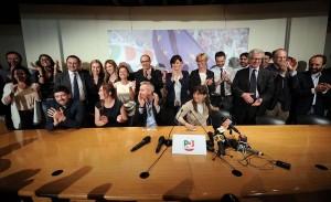 Sede del Partito Democratico. Aspettando i risultati delle elezioni europee
