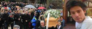 WCENTER 0XQCBCOLDE Il feretro di Giulio Regeni raggiunge la palestra dove sarà celebrata la funzione funebre, Fiumicello, 12 febbraio 2016. ANSA/ALBERTO LANCIA