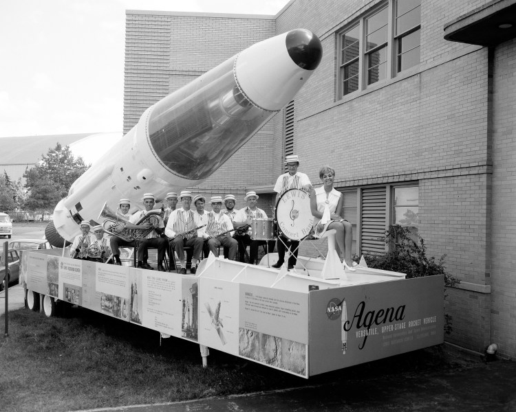 Miss NASA 1970 along with the Lewis Research Center Band on the Agena trailor.