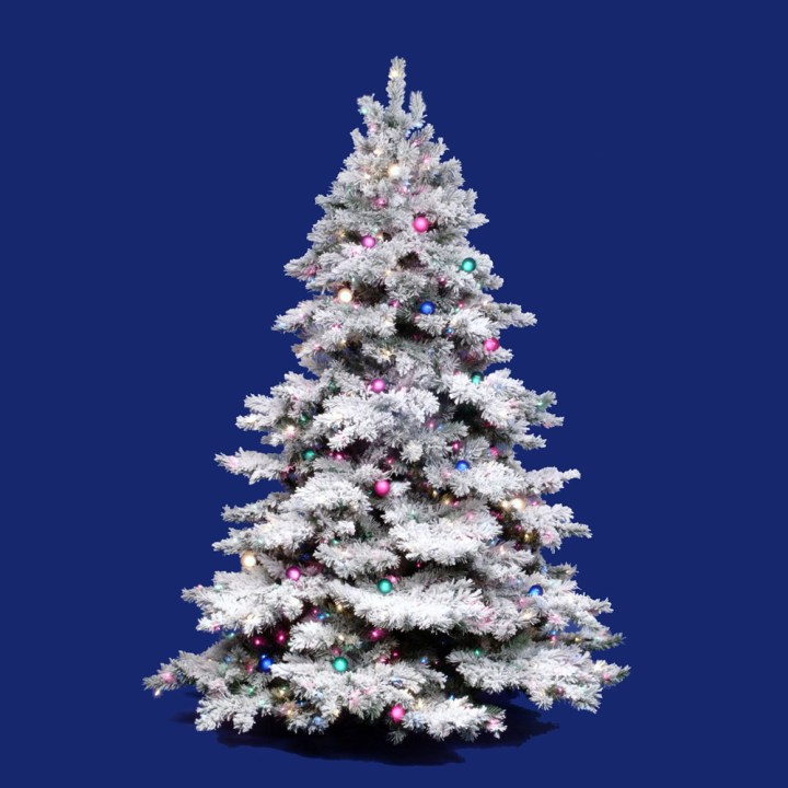 White Flocked Christmas Tree With Colored Lights