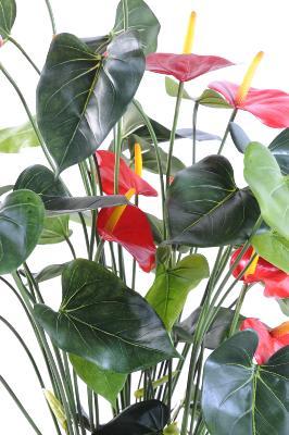 plante artificielle fleurie anthurium en pot decoration d interieur h 78cm rouge
