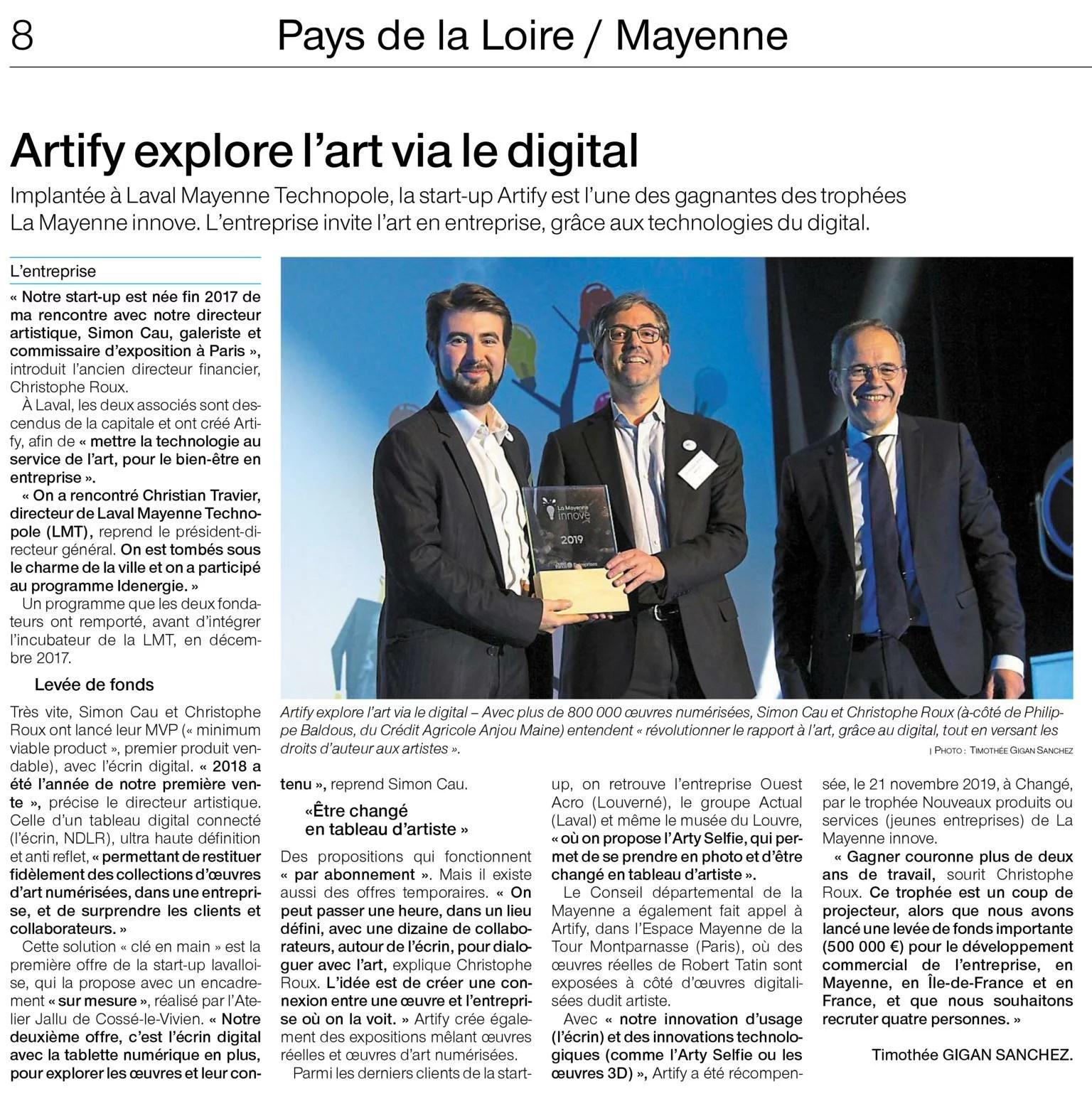 Artify - Article mettant en avant la remise du prix La Mayenne Innove du Crédit Agricole Anjou Maine