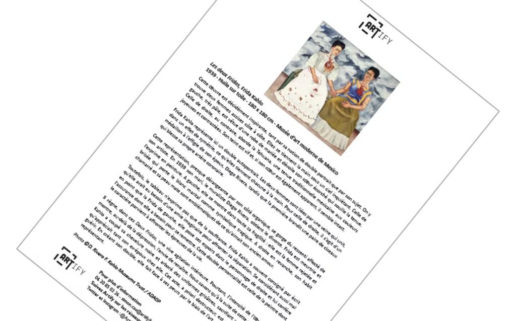Artify - Fiche de l'oeuvre Les Deux Fridas de Frida Kahlo présentée lors de Arty Handi
