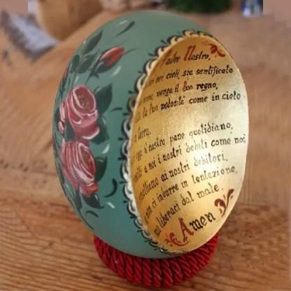 """Guscio uovo di struzzo tagliato e reso con """"medaglione concavo"""""""