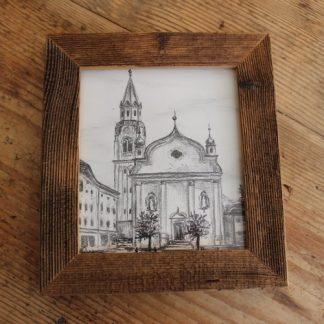 quadro a carboncino Parrocchia dei Santi Filippo e Giacomo Apostoli con campanile di Cortina d'Ampezzo con cornice in scandola