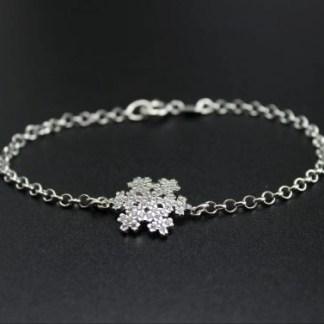 Bracciale con fiocco di neve in argento e zirconi